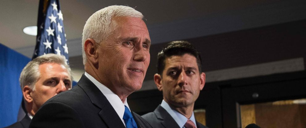 PHOTO: Speaker of the House Paul Ryan (R), R-WI, and House Majority Leader Kevin McCarthy (L), R-CA, look on as Republican vice presidential nominee Governor Mike Pence (C) speaks, on Sept. 13, 2016, in Washington.