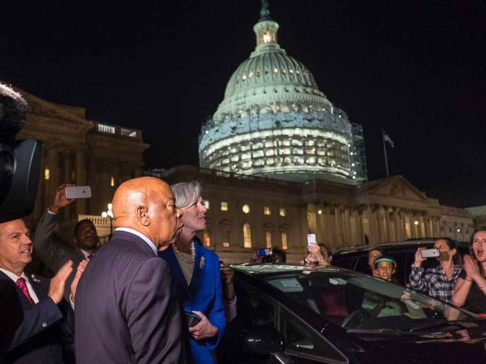 PHOTO: Civil rights icon Rep. John Lewis (D-GA) speaks to supporters of House Democrats taking part in a sit-in on the House Chamber outside the U.S. Capitol on June 22, 2016 in Washington, DC.