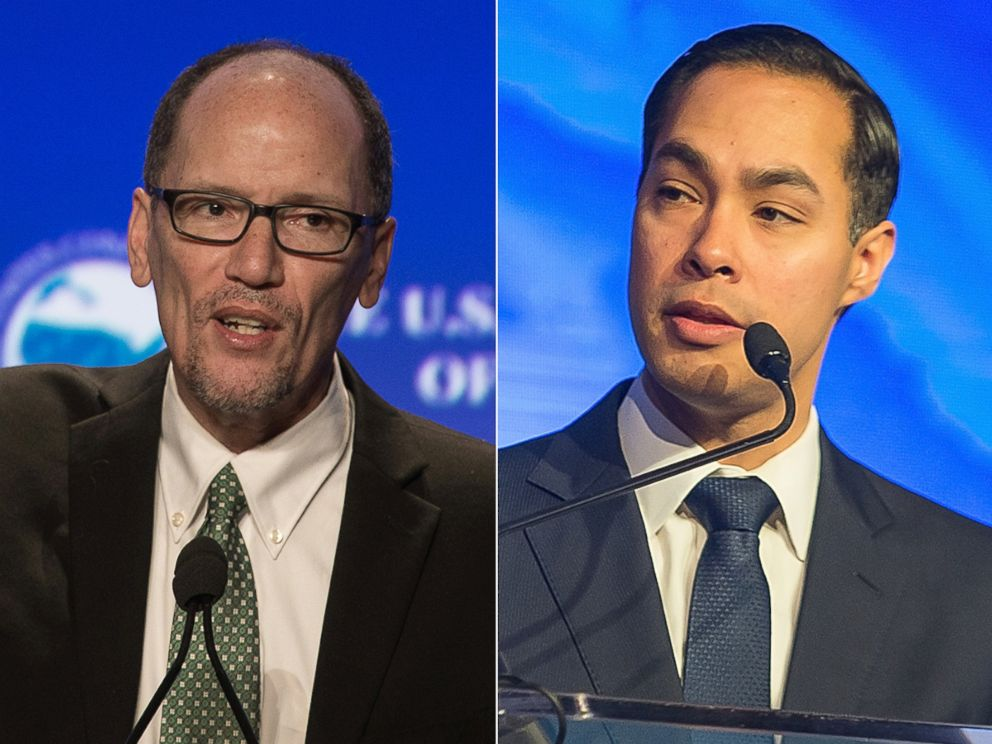 PHOTO: Tom Perez speaks at the 84th annual Winter Meeting of The United States Conference of Mayors in Washington, Jan. 21, 2016. Julian Castro speaks onstage during the 2016 HOPE Global Forum at Atlanta Marriott Marquis, Jan. 14, 2016 in Atlanta.
