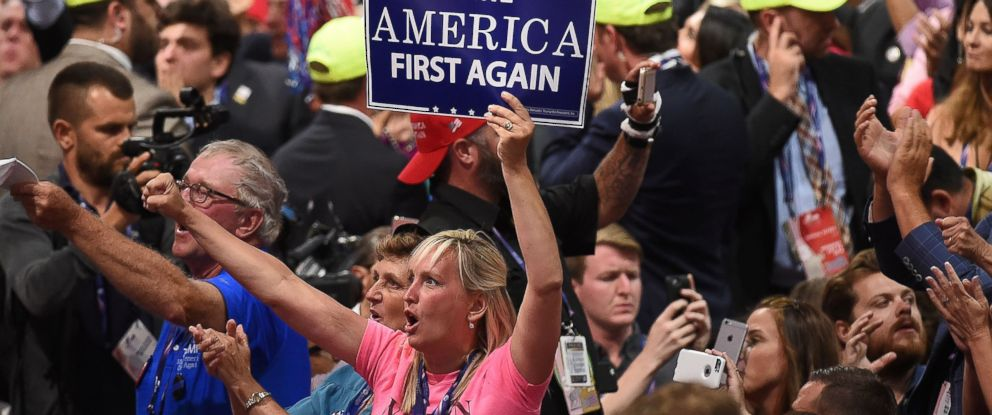 PHOTO: Delegates shout as Ted Cruz speaks during the Republican National Convention at the Quicken Loans Arena in Cleveland, July 20, 2016.