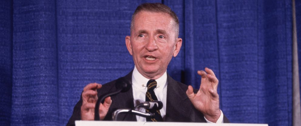 PHOTO: American businessman and politician Ross Perot, undeclared candidate for president, speaking and gesticulating at a podium during a press conference, June 14, 1992, Annapolis, Maryland.