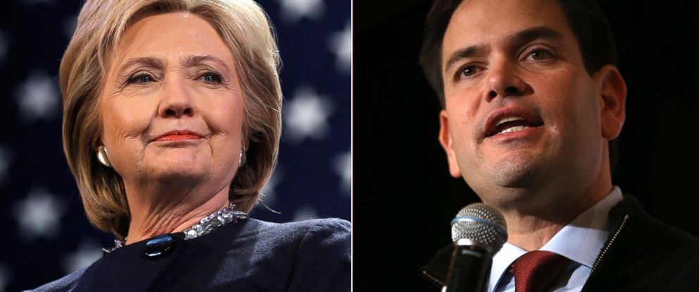 PHOTO:Hillary Clinton is introduced during a campaign stop, Jan. 22, 2016, in Rochester, N.H. Marco Rubio speaks during a campaign rally at the Renaissance Las Vegas, Dec. 14, 2015, in Las Vegas.