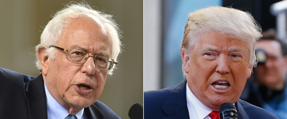 """PHOTO: Democratic Presidential candidate Senator Bernie Sanders speaks to a crowd on April 23, 2016, in Baltimore 