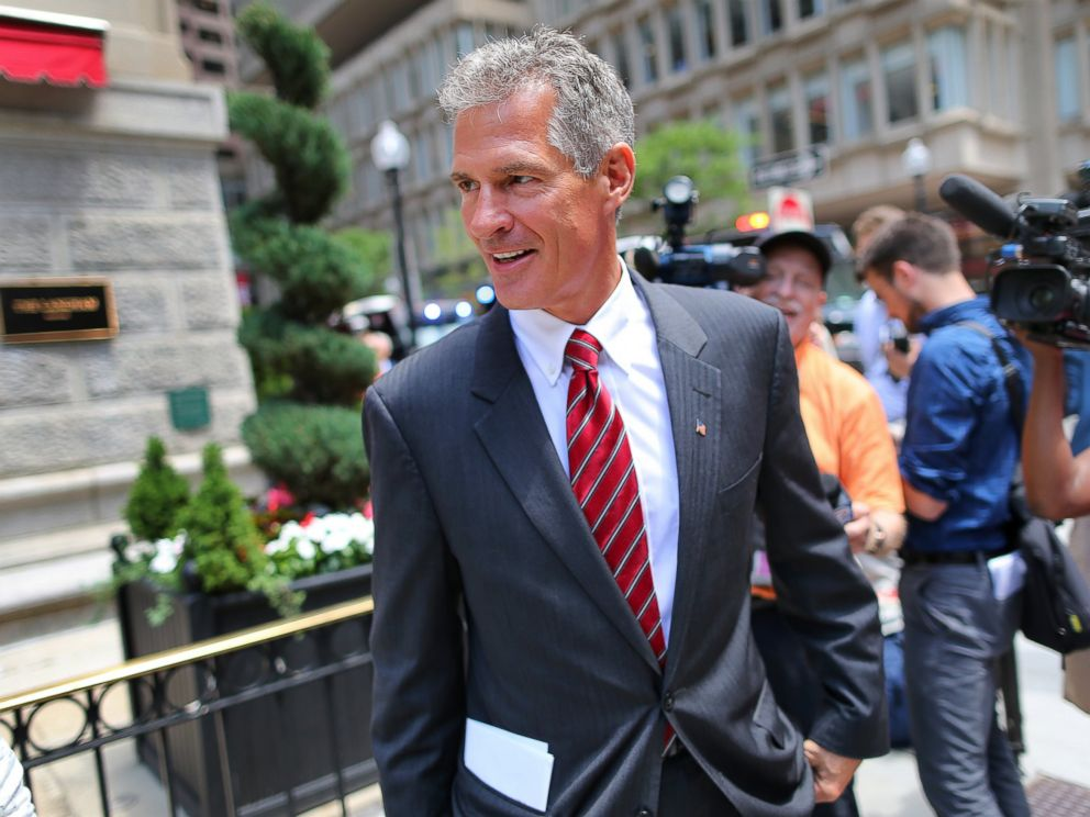 PHOTO: Former Senator Scott Brown leaves the Langham Hotel in Post Office Square where he attended a fundraising event for Republican presidential candidate Donald Trump in Boston, June 29, 2016.