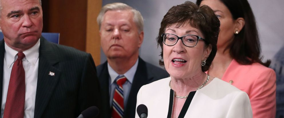 PHOTO: Sen. Susan Collins (R-ME), speaks while flanked by bipartisan Senate colleagues during a news conference on Capitol Hill, June 21, 2016, in Washington.