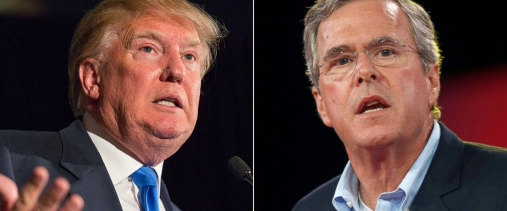 PHOTO: Donald Trump speaks during the Republican Society Patriot Dinner in Charleston, S.C. on Feb. 22, 2015 and former Florida Gov. Jeb Bush, speaks at the Defending the American Dream summit in Columbus, Ohio on Aug. 21, 2015.