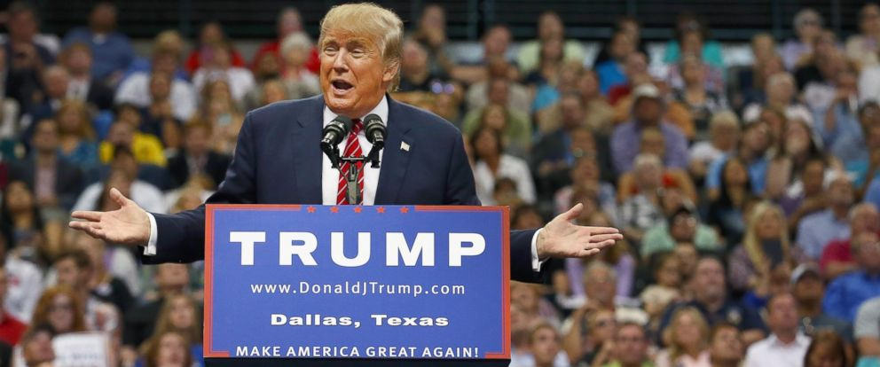 PHOTO: Republican presidential candidate Donald Trump speaks during a campaign rally at the American Airlines Center on Sept. 14, 2015 in Dallas.
