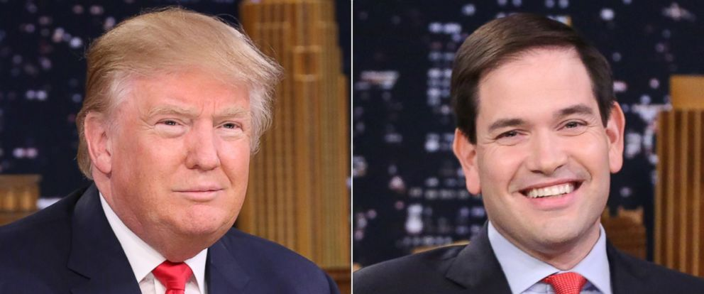 """PHOTO: Presidential candidate Donald Trump during an interview on """"The Tonight Show Starring Jimmy Fallon"""" on Jan. 11, 2016   Senator Marco Rubio on """"The Tonight Show Starring Jimmy Fallon"""" on Jan. 21, 2016 in Los Angeles."""