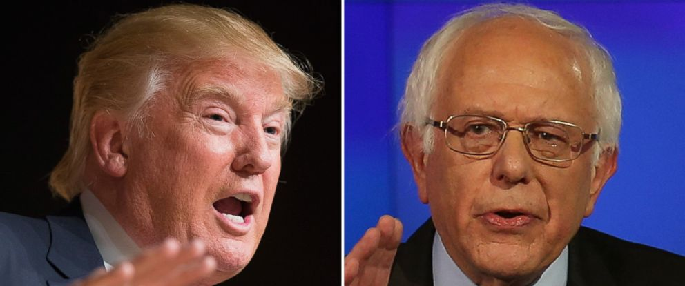 PHOTO: Republican presidential candidate Donald Trump speaks at a campaign rally on Oct. 21, 2015 in Burlington, Iowa and Democratic presidential candidate Sen. Bernie Sanders (I-VT) takes part in a presidential debate on Oct. 13, 2015 in Las Vegas.