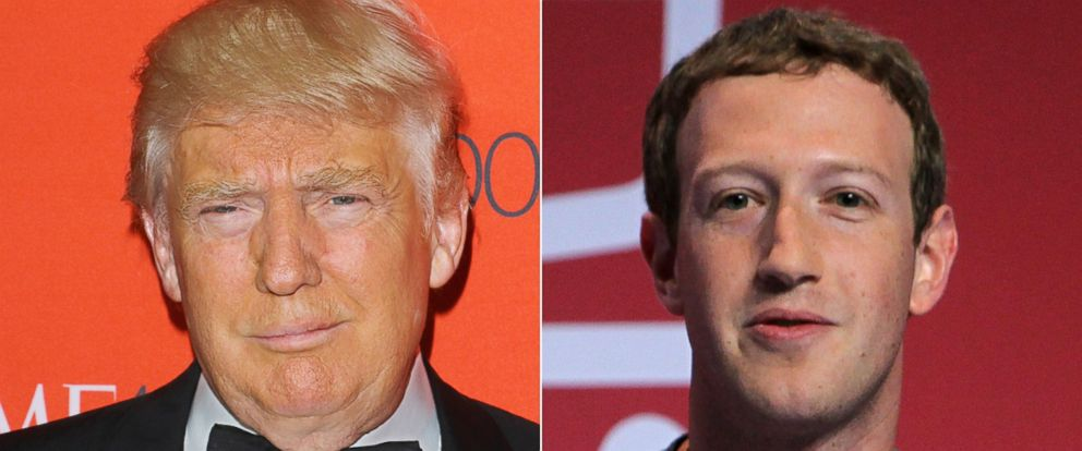 PHOTO: Donald Trump attends the 2016 Time 100 Gala on April 26, 2016 in New York City | Founder and CEO of Facebook Mark Zuckerberg attends MWC16 Mobile World Congress 2016 on Feb. 22, 2016 in Barcelona, Spain.