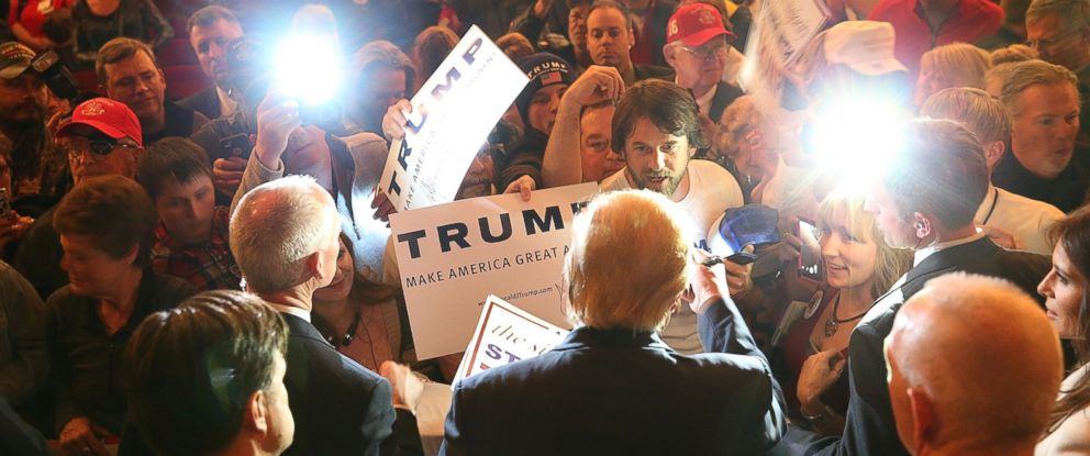 PHOTO: Donald Trump greets people as he attends a campaign rally at the Sioux City Orpheum Theatre on Jan. 31, 2016 in Sioux City, Iowa.