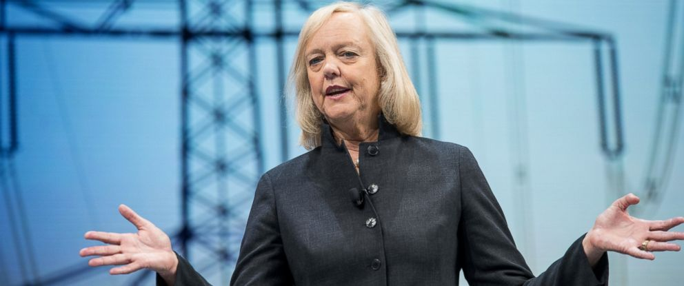 PHOTO: Meg Whitman, chief executive officer of Hewlett Packard Enterprise Co., speaks during the HP Discover 2016 Conference in Las Vegas, Nevada, U.S., on June 8, 2016.