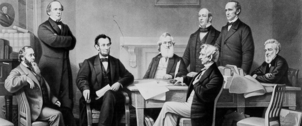 PHOTO: Lithograph shows cabinet members gathered to hear Abraham Lincolns Emancipation Proclamation