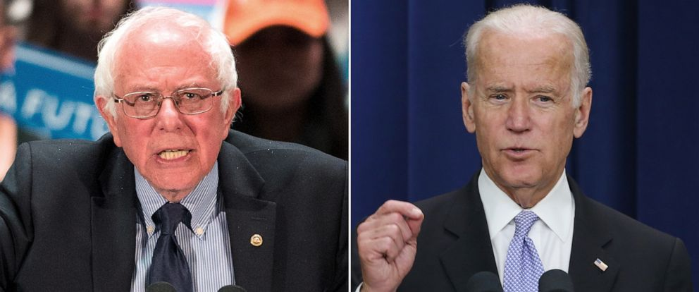 PHOTO: Sen. Bernie Sanders, left, speaks at a campaign stop, April 21, 2016, in Scranton, Pa. Vice President Joe Biden speaks on April 14, 2016, in Washington.