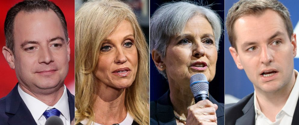PHOTO: From left, Reince Priebus, Kellyanne Conway, Jill Stein and Robby Mook are seen here.