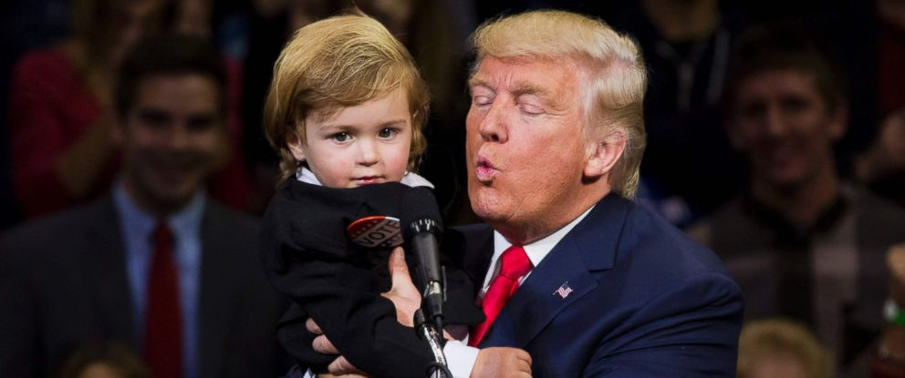 PHOTO: Republican presidential nominee Donald Trump kisses a child dressed as him during a rally at Mohegan Sun Arena in Wilkes-Barre, Pennsylvania, Oct. 10, 2016.