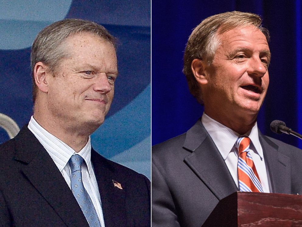 PHOTO: Massachusetts Governor Charlie Baker at the Outside the Box Festival Boston at Boston Common on July 17, 2015 in Boston. Tennessee Governor Bill Haslam attends the 90th birthday celebration of War Memorial Auditorium, Sept.21, 2015 in Nashville.