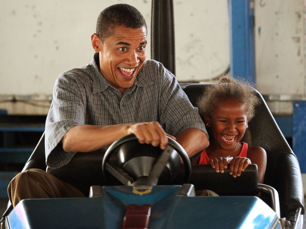 PHOTO: Democratic Presidential Candidate Senator Barack Obama, D-IL, drives a bumper car with his daughter Sasha at the Iowa State Fair in Des Moines, Iowa, Aug. 16, 2007.