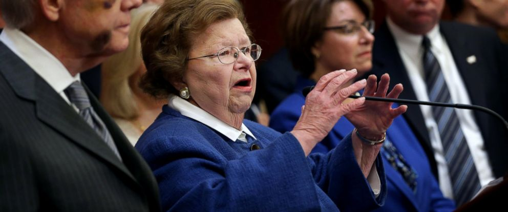 PHOTO: Sen. Barbara Mikulski (D-MD) accuses Republican Senate leaders of manufacturing the possible shutdown of the Department of Homeland Security during a news conference at the U.S. Capitol, Feb. 24, 2015 in Washington.