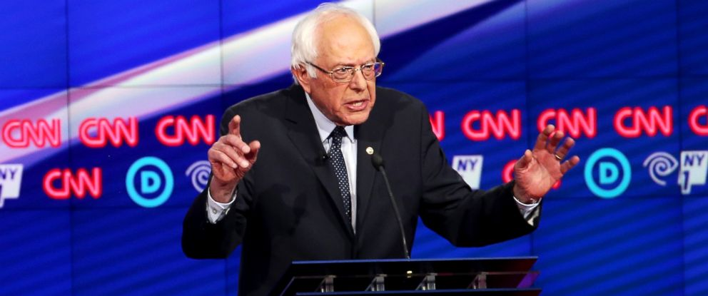 PHOTO: Sen. Bernie Sanders (D-VT) debates Hillary Clinton during the CNN Democratic Presidential Primary Debate at the Duggal Greenhouse in the Brooklyn Navy Yard on April 14, 2016 in New York City.