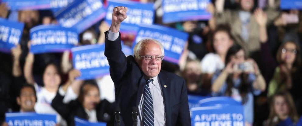PHOTO: Democratic presidential hopeful Senator Bernie Sanders greets supporters at an election-night rally, June 7, 2016, in Santa Monica, California.