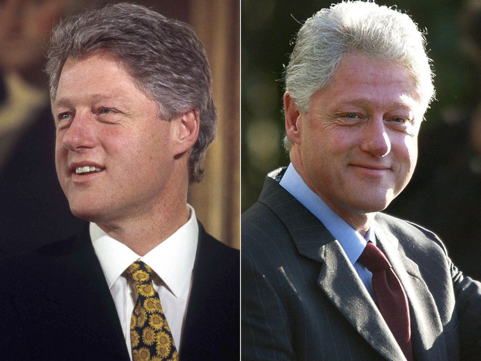 PHOTO: Bill Clinton is seen at the start of his presidency, left, and at the end, right.