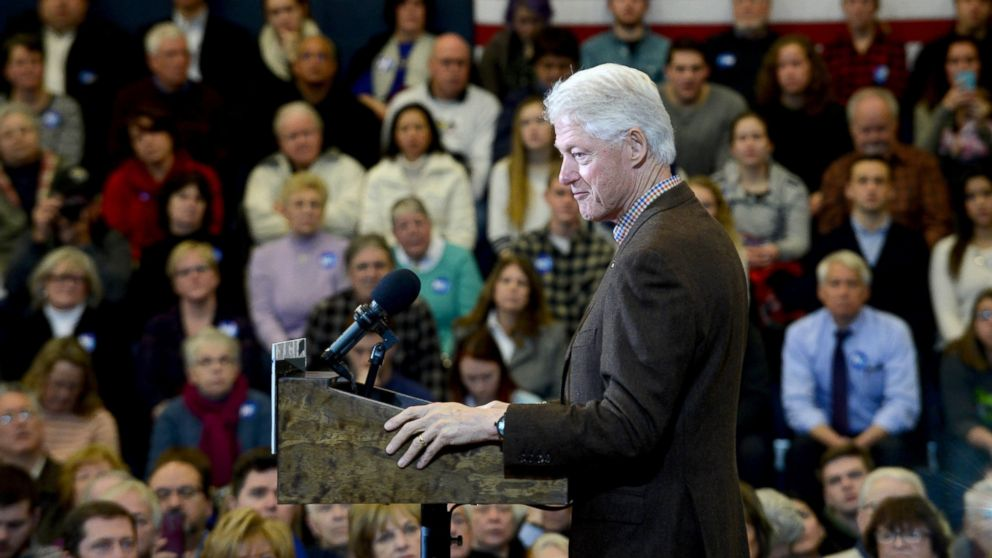Bill Clinton campaigns for his wife, Democratic president candidate Hillary Clinton, at Nashua Community College, Jan. 4, 2016, in Nashua, New Hampshire.
