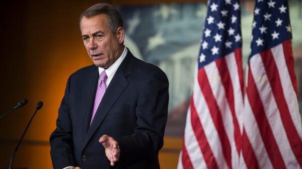 PHOTO: Speaker of the House John Boehner speaks in the Capitol on Feb. 6, 2014 in Washington, D.C.