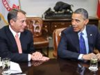 PHOTO: President Barack Obama, right, sits with Speaker of the House John Boehner during a meeting
