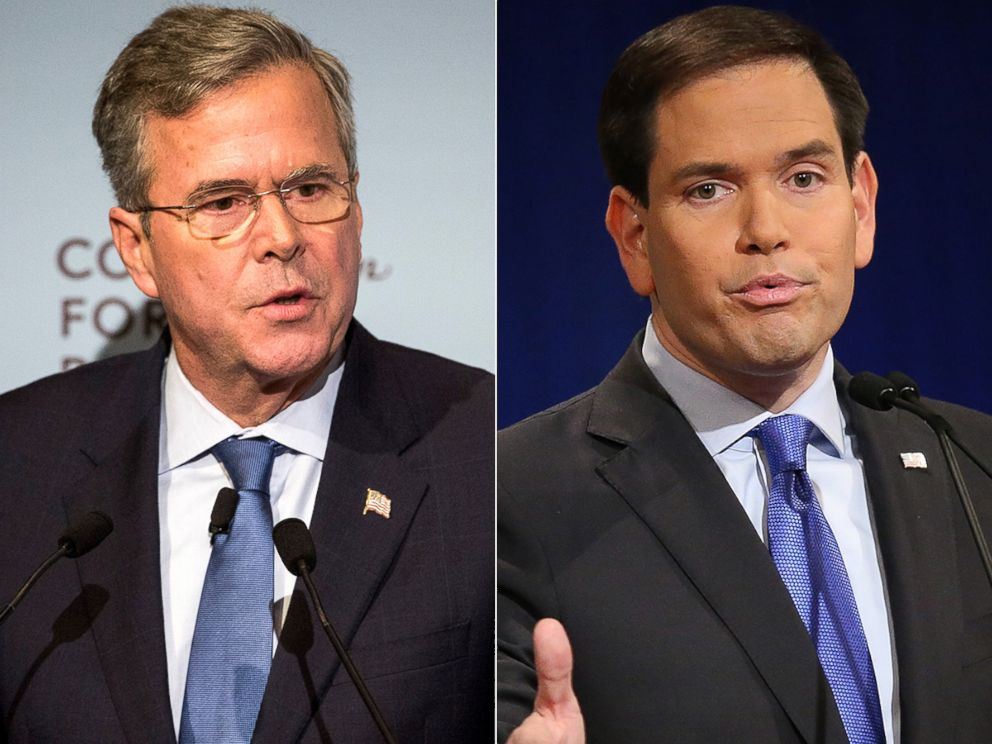 PHOTO: Jeb Bush, left, and Marco Rubio are vying for the White House in the 2016 presidential race.
