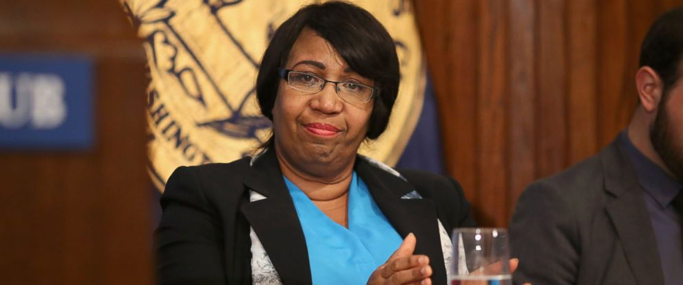 PHOTO: Candy Carson, wife of Republican presidential candidate Dr. Ben Carson, listens to hime address the National Press Club Newsmakers Luncheon, Oct. 9, 2015 in Washington.