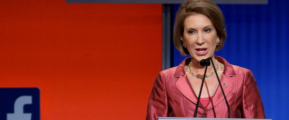 PHOTO: Carly Fiorina participates in a presidential pre-debate forum hosted by FOX News and Facebook at the Quicken Loans Arena, Aug. 6, 2015, in Cleveland.