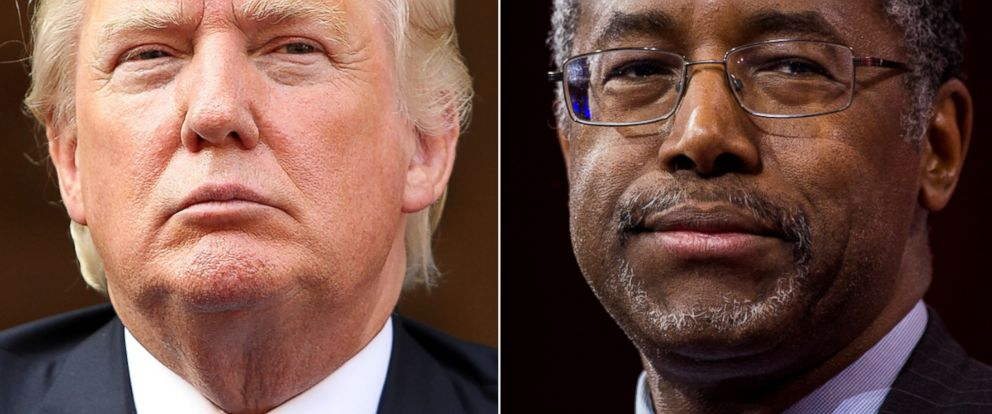 PHOTO:Donald Trump listens at the Trump International Hotel Groundbreaking Ceremony, July 23, 2014 in Washington. Dr. Ben Carson speaks to address the crowd at CPAC in National Harbor, Md., Feb. 26, 2015.