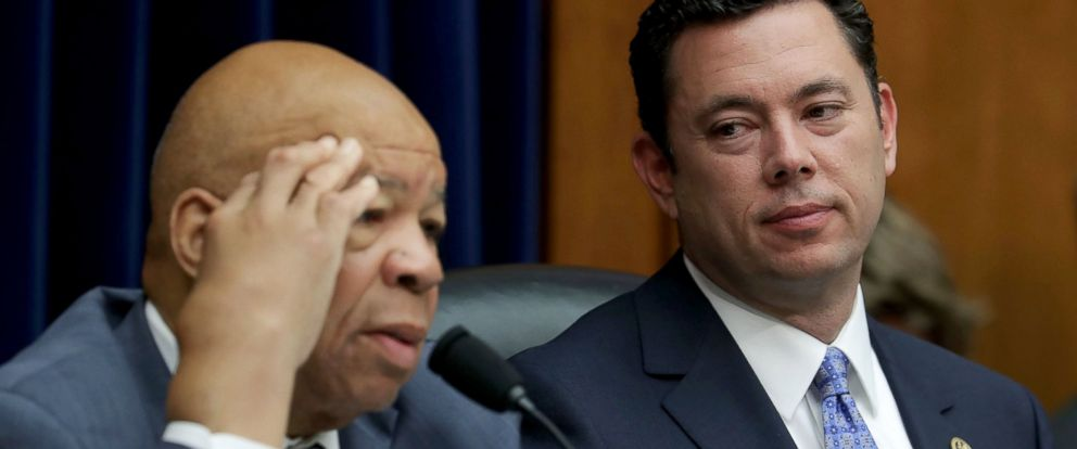 PHOTO: Rep. Elijah Cummings, left, speaks as committee chairman Rep. Jason Chaffetz looks on during a hearing before the House Oversight and Government Reform Committee, Sept. 13, 2016, in Washington.