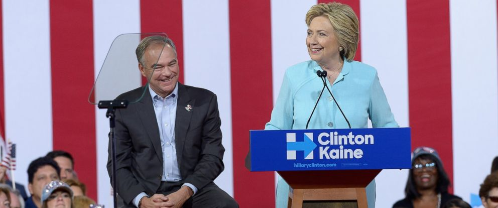 PHOTO: Democratic presidential candidate former Secretary of State Hillary Clinton and Democratic vice presidential candidate Sen. Tim Kaine attend a campaign rally at Florida International University Panther Arena on July 23, 2016 in Miami.