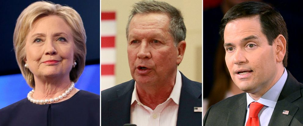 PHOTO: Hillary Clinton, John Kasich and Marco Rubio speak at campaign events.