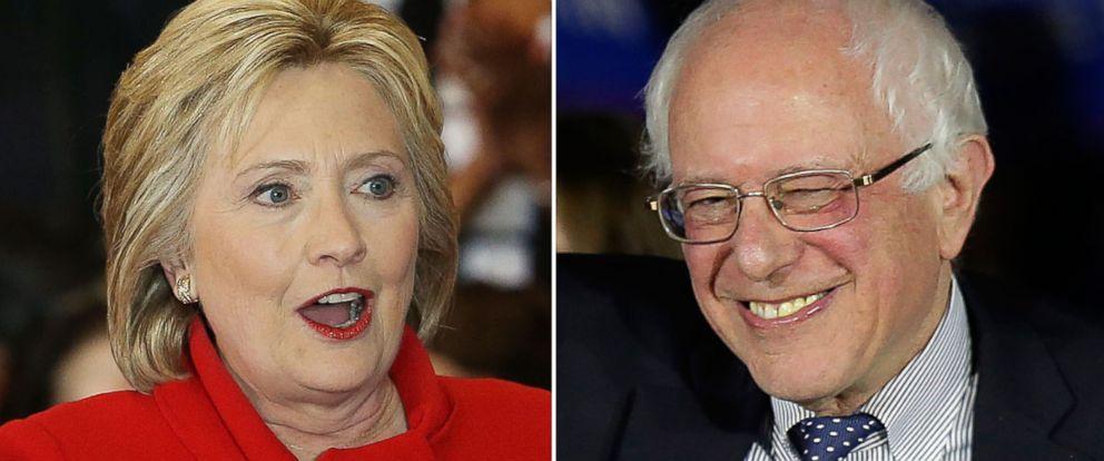 PHOTO: Hillary Clinton and Sen. Bernie Sanders spoke on Caucus night in Iowa, Feb. 1, 2016.