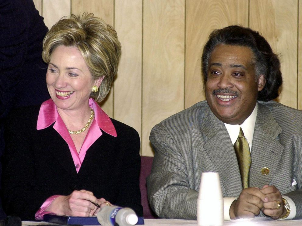 PHOTO: First Lady Hillary Rodham Clinton and the Reverend Al Sharpton attend the annual Martin Luther King Jr. Public Policy Forum in New York City, Jan. 17, 2000.