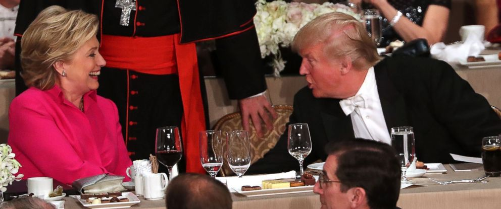 PHOTO: Democratic presidential candidate Hillary Clinton speaks briefly with Republican presidential candidate Donald Trump while attending the annual Alfred E. Smith Memorial Foundation Dinner at the Waldorf Astoria, Oct. 20, 2016, in New York.