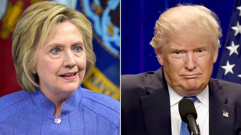 Democratic presidential candidate Hillary Clinton on June 15, 2016 and Republican presidential candidate Donald Trump on June 13, 2016.