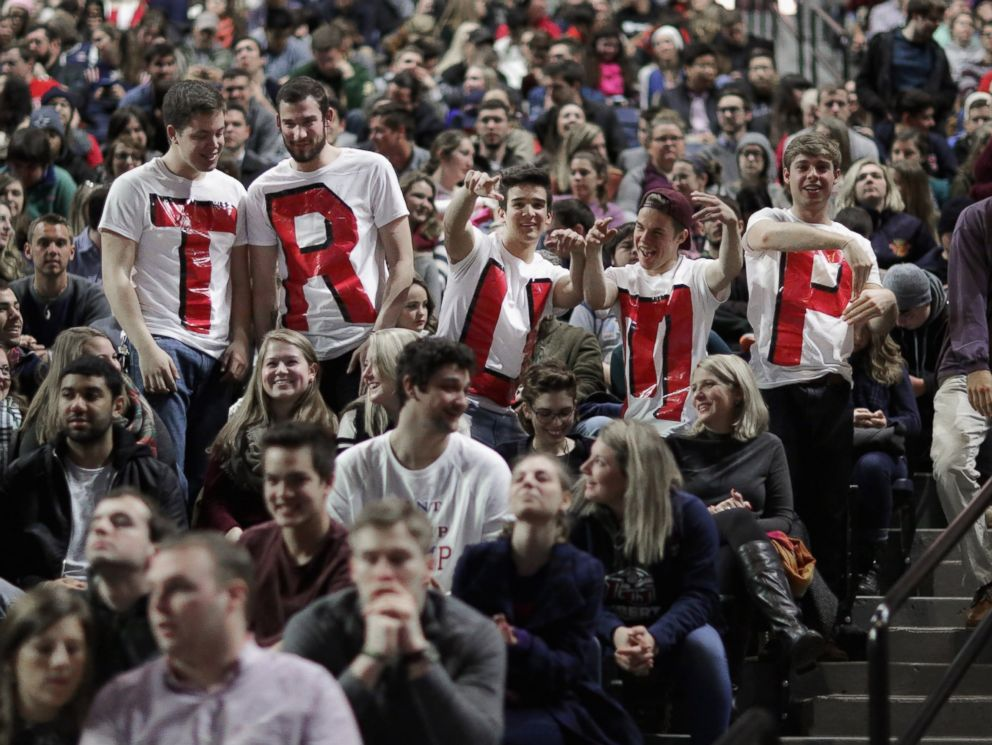 PHOTO: Liberty University students wear home made t-shirts spelling TRUMP while waiting for the arrival of Republican presidential candidate Donald Trump during a campaign rally, Jan. 18, 2016 in Lynchburg, Virginia.