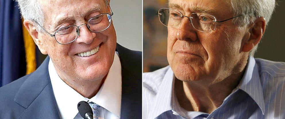 PHOTO: David H. Koch seen Sept. 9, 2009 in New York City.   Charles Koch seen Feb. 26, 2007.