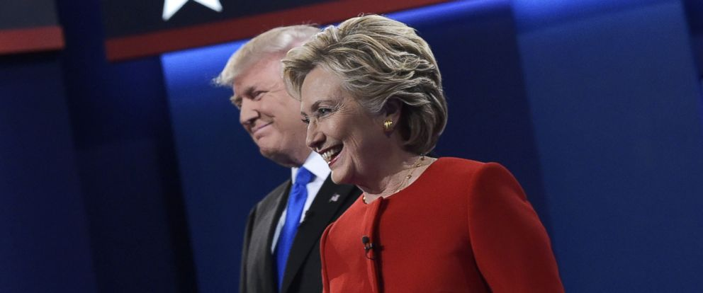 PHOTO:Republican presidential nominee Donald Trump and Democratic presidential nominee Hillary Clinton arrive on stage for the first presidential debate at Hofstra University in Hempstead, New York on Sept. 26, 2016.