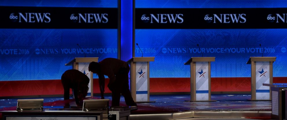 PHOTO: Preparations are underway on stage prior to the Republican Presidential Candidates Debate in Manchester, New Hampshire, Feb. 6, 2016.