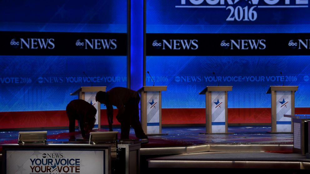 Preparations are underway on stage prior to the Republican Presidential Candidates Debate in Manchester, New Hampshire, Feb. 6, 2016.