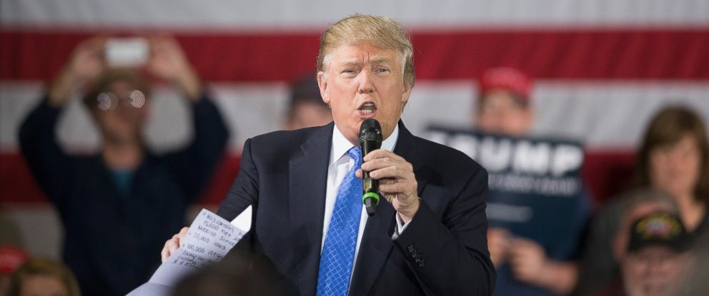 PHOTO: Donald Trump speaks to guests during a campaign rally, March 29, 2016, in Janesville, Wisconsin.