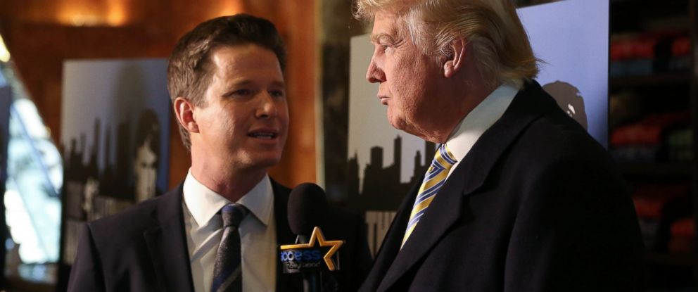 "PHOTO: Donald Trump, right, is interviewed by Billy Bush of Access Hollywood at ""Celebrity Apprentice"" Red Carpet Event at Trump Tower, Jan. 20, 2015 in New York City."