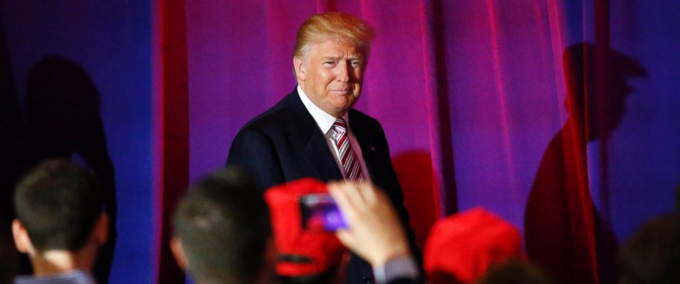 PHOTO: Republican presidential candidate Donald Trump arrives to deliver remarks following primaries in California, Montana, New Jersey, New Mexico, North Dakota and South Dakota in Briarcliff Manor, New York, June 7, 2016.