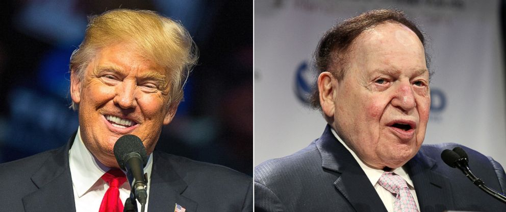 PHOTO: Pictured (L-R) are Donald Trump in Indianopolis, April 27, 2016 and Sheldon G. Adelson in New York City, May 5, 2016.