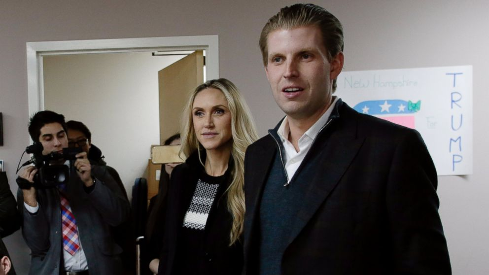 Eric Trump, right, son of Republican presidential candidate Donald Trump, along with wife Lara, thank volunteers as they make phone calls to New Hampshire voters at Trump's campaign office, Feb. 9, 2016 in Manchester, N.H.